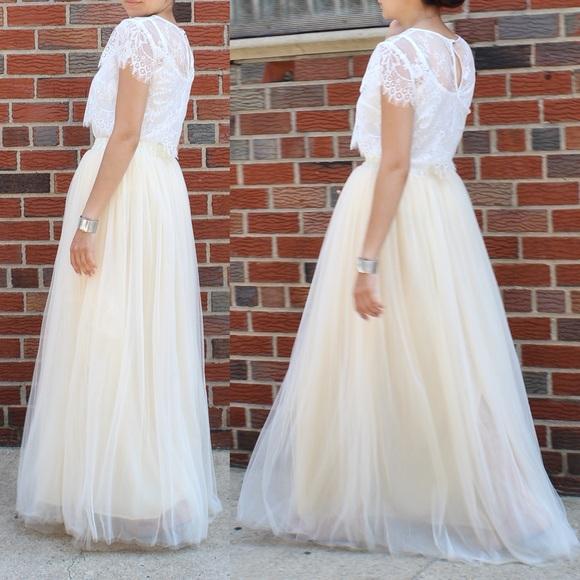 c276f5c24e C'est Ca New York Skirts | New Champagne Maxi Soft Tulle Skirt ...
